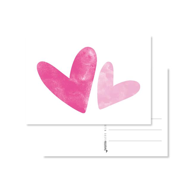 kaart handlettering roze hartjes
