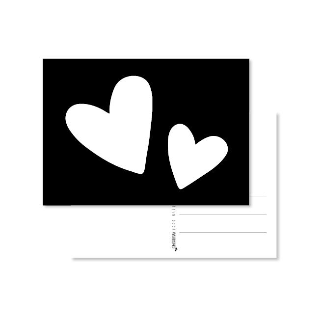 kaart handlettering witte hartjes