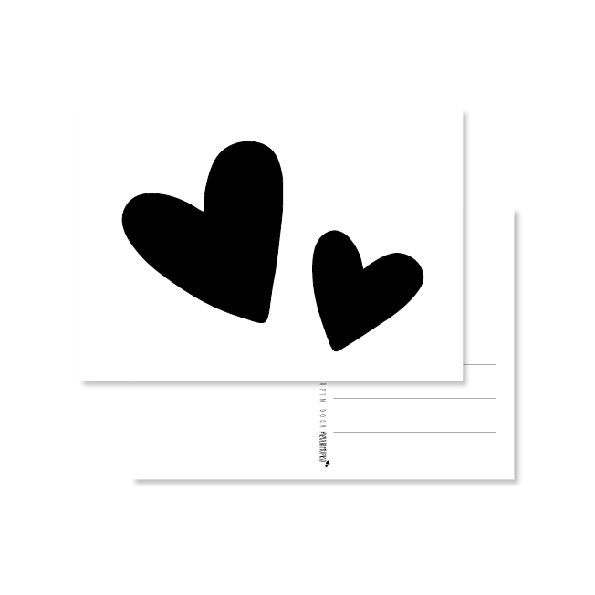 kaart handlettering zwarte hartjes