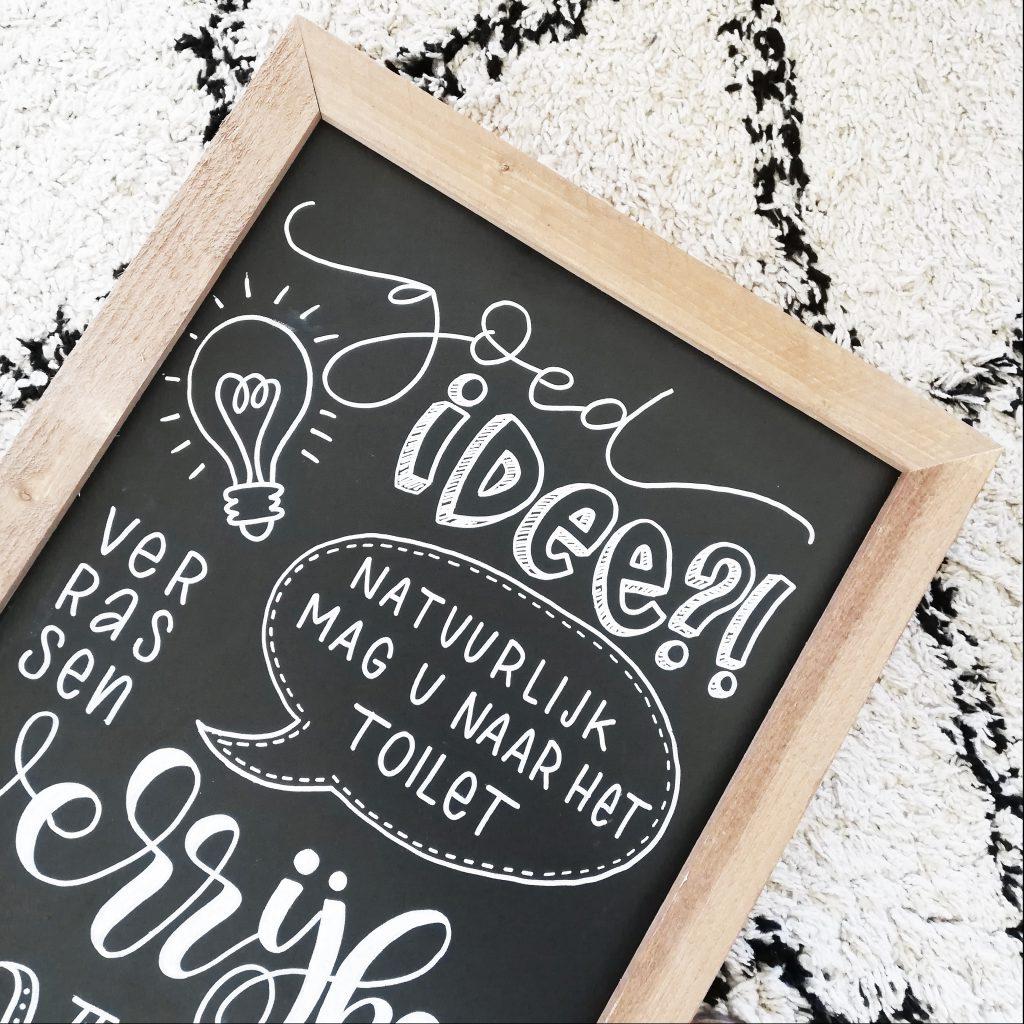Krijtbord lettering op maat handlettering