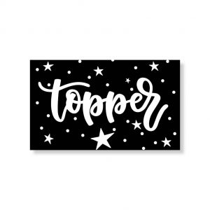 Minikaartje zwart topper 6x10cm